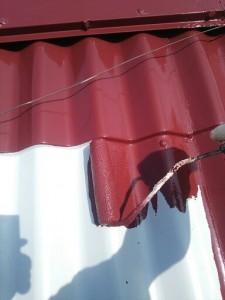平井7月22日屋根上塗り1回目状況