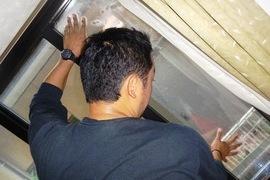 熊本市 住宅窓セキュリティーフィルム工事の施工前画像