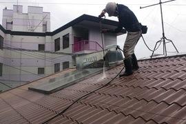 熊本龍田住宅塗装・屋根塗装前高圧洗浄工事の施工前画像
