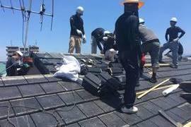 地震被害 屋根葺き替え工事の施工前画像