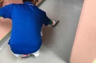 非常階段土間ウレタン防水工事 熊本地震災害による雨漏れ修繕の施工後画像