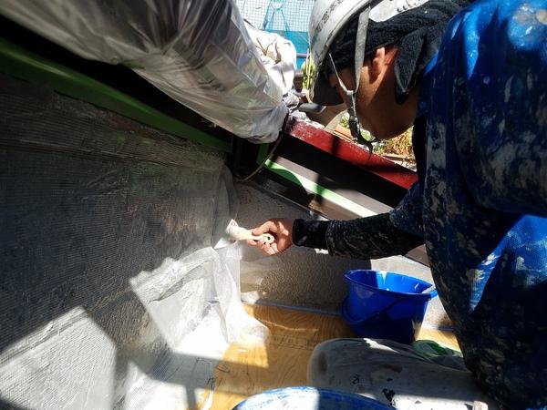 熊本古大工町住宅防水・ウレタン防水メッシュ張り完了しました!