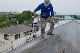 熊本益城住宅塗装・外壁塗装前高圧洗浄完了しました!!の施工前画像