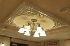 熊本ホテル 玄関口天井クロス張替え工事