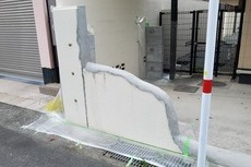 熊本住宅塀左官補修後ガラ合わせ塗装工事