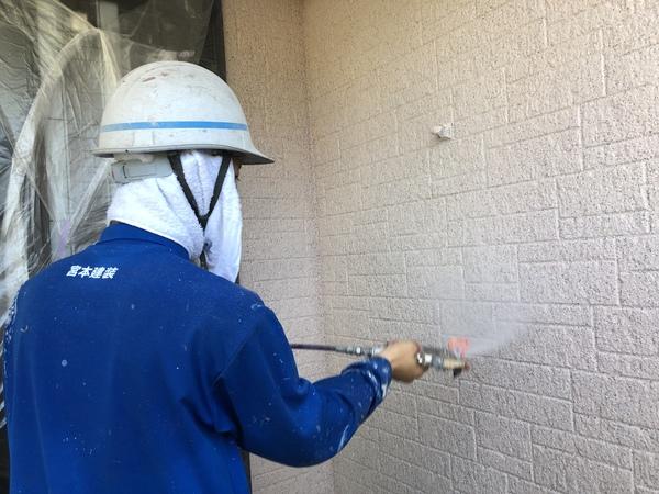 熊本県上益城郡甲佐町住宅塗装・外壁上吹きクリヤー塗装完了