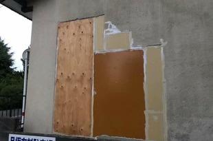 地震被害外壁応急処置 突貫工事の施工後画像