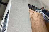 地震被害外壁応急処置 突貫工事