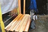 熊本地震被害外壁修繕工事 下地張替え後左官工事