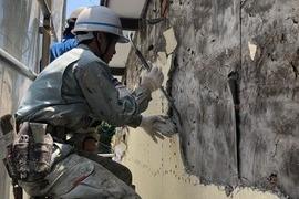 熊本地震被害外壁修繕工事 下地張替え後左官工事の施工前画像