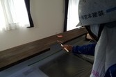 カウンター木部加工箇所塗装 龍田住宅