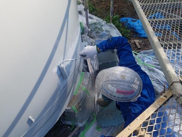 熊本県玉名郡和水町・酒造タンク遮熱塗装・中塗り塗装工事(弱溶剤2液型遮熱材)