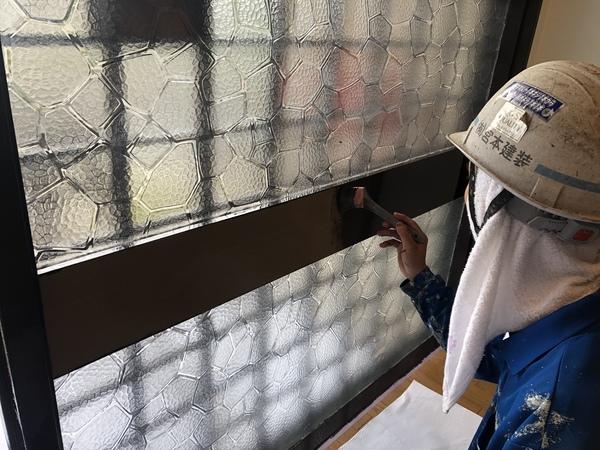 熊本市北区高平鉄部、木部塗装・内部木枠弱溶剤シリコン塗装工事