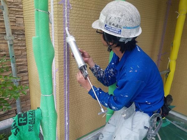 熊本市徳王住宅塗装・外壁シーリング工事完了(2液型シリコン材使用)