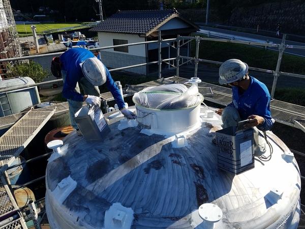 熊本県和水町・酒造タンク遮熱塗装工事
