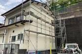 外壁モルタル仕上げ後 復旧吹付仕上げ塗装工事