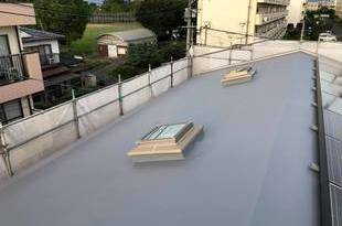 熊本市中央区渡鹿 住宅屋上防水シート保護塗装工事の施工後画像