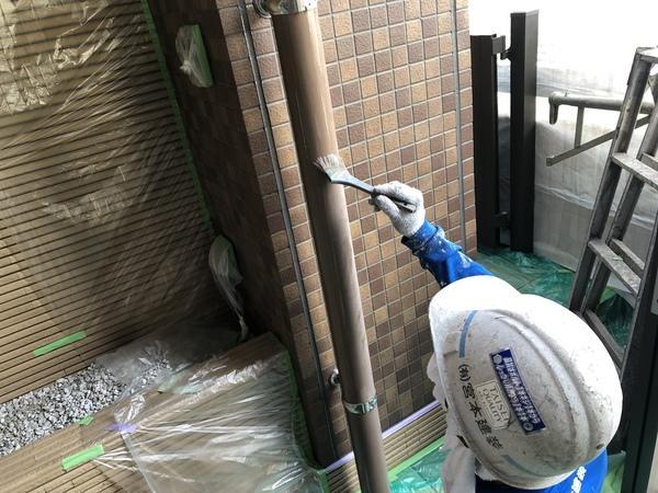 熊本渡鹿住宅・弱溶剤2液型シリコン材使用・付帯部塗装工事
