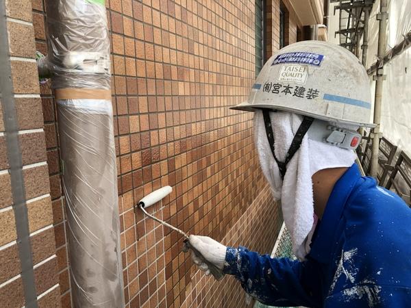 熊本渡鹿住宅塗装・外壁クリヤー1回目工事