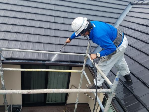 熊本市北区徳王住宅塗装・外壁塗装前・高圧水洗浄工事