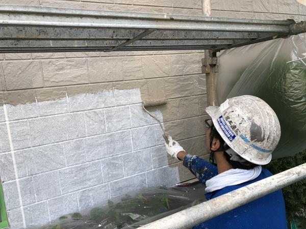 熊本県上益城広崎住宅塗装・外壁上塗り1回目塗装工事