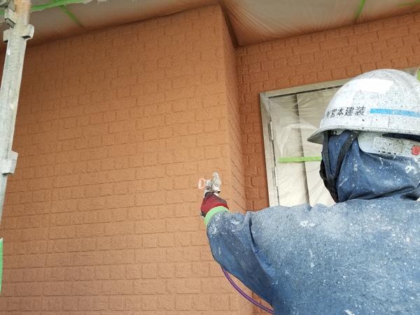 熊本県合志市幾久富住宅塗装・外壁吹付け塗装(撥水コート)