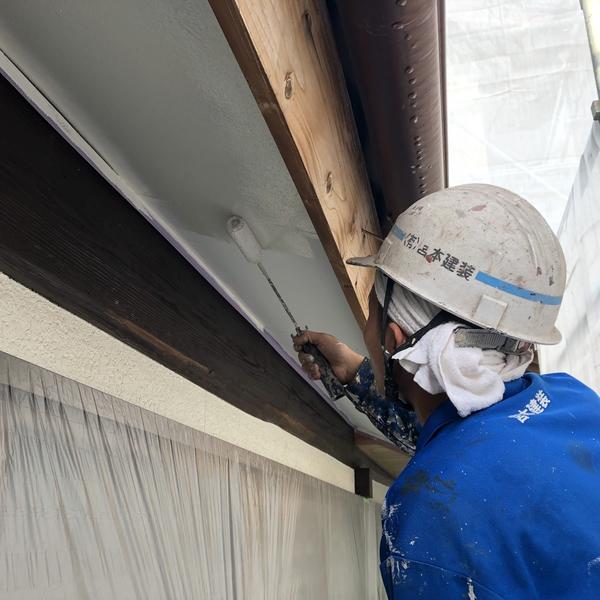 熊本県山鹿市鹿央町住宅塗装・軒天井(ボード)塗装工事