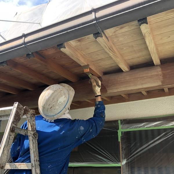 熊本県山鹿市鹿央町住宅塗装・木部天井ステイン塗装工事