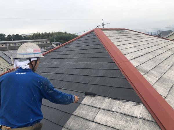 熊本上益城郡広崎住宅塗装・コロニアル屋根下塗り塗装工事