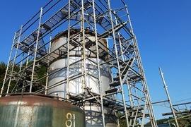 酒造タンクを防錆を考え遮熱塗装工事終了できました。お褒めの言葉に感謝♪です。の施工前画像