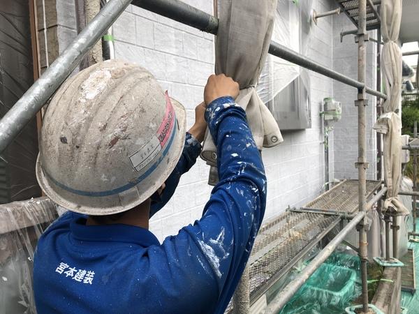 熊本上益城郡広崎住宅塗装・外部足場シート台風対策完了