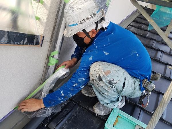 熊本市東区江津住宅塗装・塗装前外壁養生完了