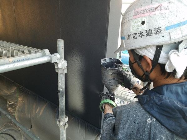 熊本県合志市栄新築住宅・外壁吹き付け塗装工事(弾性ベルアート)