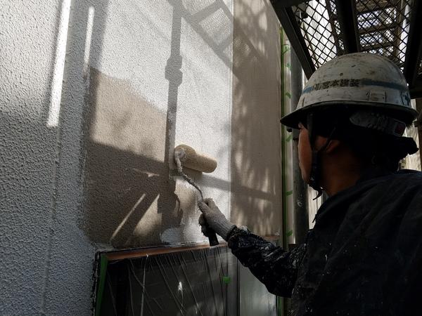 熊本市東区江津住宅塗装・外壁下塗り(模様付け)塗装工事