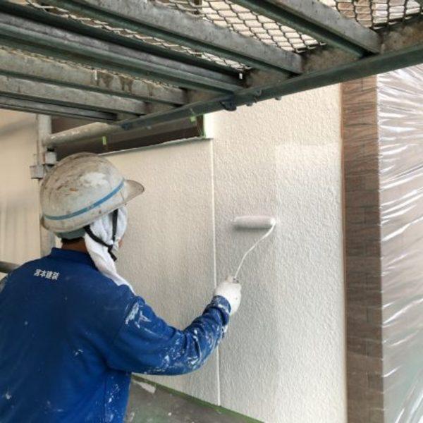 熊本県山鹿市鹿央町住宅塗装・外壁上塗り1回目2回目工事