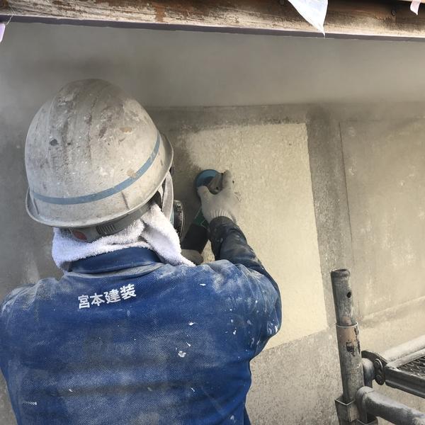 熊本県山鹿市鹿央町住宅塗装・外壁剥離箇所グラインダーケレン工事