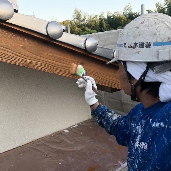 熊本県山鹿市花王町住宅塗装・破風ステイン着色塗装工事