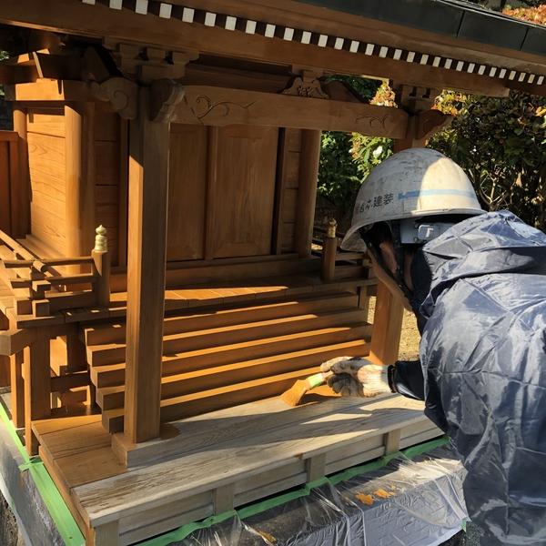 熊本県山鹿市鹿央町住宅塗装・お宮木部ステイン塗装工事
