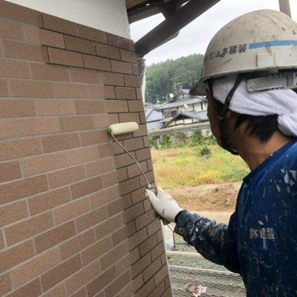 熊本県山鹿市鹿央町住宅塗装・タイル外壁クリヤー塗装工事