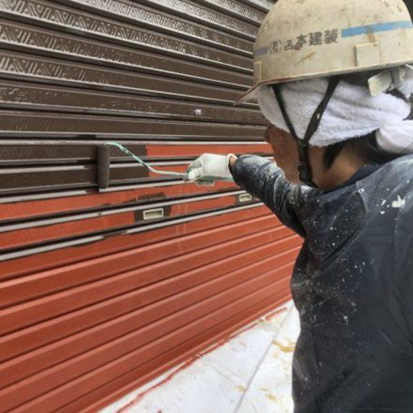 熊本県山鹿市鹿央町住宅塗装・シャッター上塗り1回目塗装工事