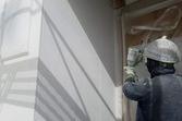 熊本県球磨郡あさぎり町にて住宅外壁ベルアート吹付塗装仕上げ