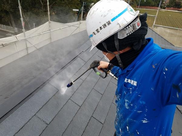 熊本県上益城郡嘉島町住宅塗装・コロニアル屋根塗装工事(高圧水洗浄)