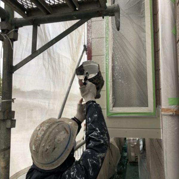 熊本市北区梶尾町住宅塗装・外壁貼り替え部分、模様吹き付け工事
