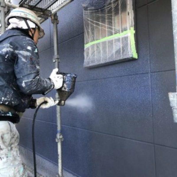 熊本県荒尾市新築住宅塗装・外壁多彩模様吹き付け工事