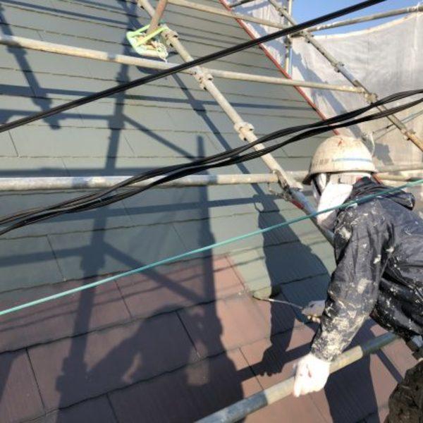 熊本市北区梶尾町住宅塗装・屋根上塗り1回目工事