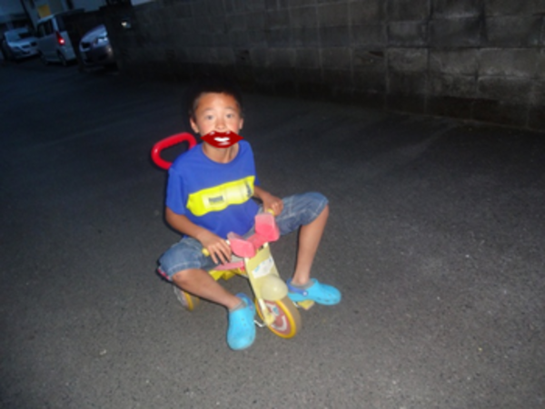 幼いころに乗せれんかった3輪車~楽しいのね~