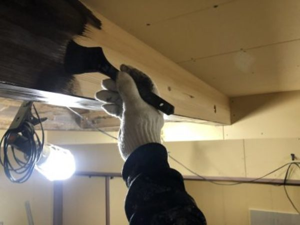 熊本県菊池市新築住宅・内部梁ステイン塗装工事