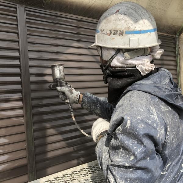 熊本市北区住宅塗装・雨戸吹き付け塗装工事