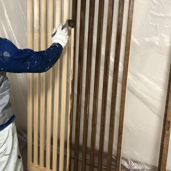 熊本県玉名新築住宅内部塗装・木格子ステイン塗装工事