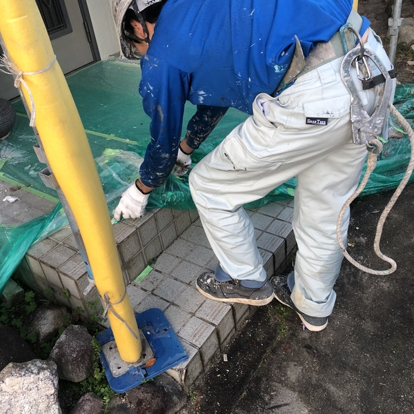 熊本市北区住宅塗装工事・パラペット塗装・養生撤去
